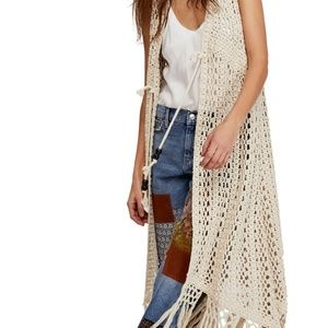 NWT FREE PEOPLE SUNCATCHER CROCHET DUSTER CARDIGAN